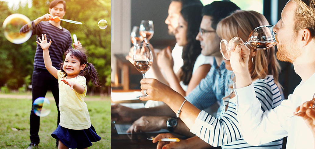 Children Playing and Adults Drinking Wine